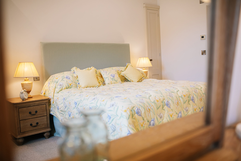 Master bedroom in The Cottage at Further Harrop Farm