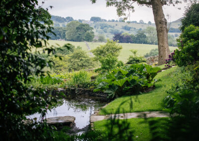 Garden pond and views across the Valley