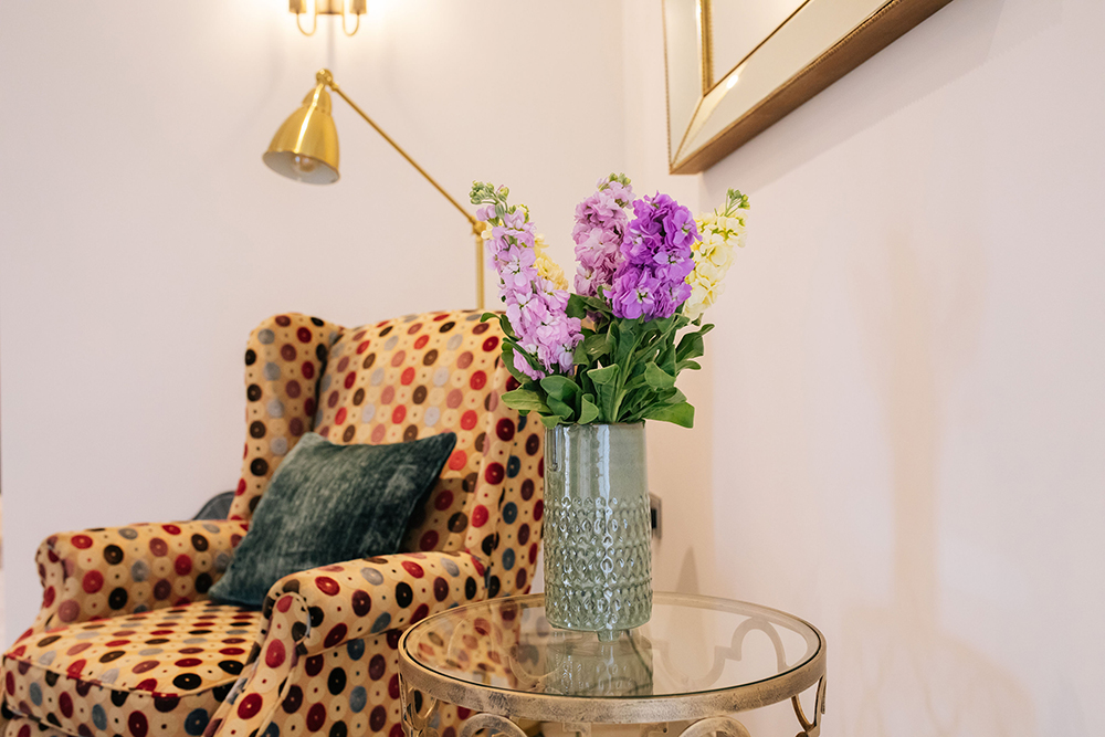 colourful, warm and cosy living room